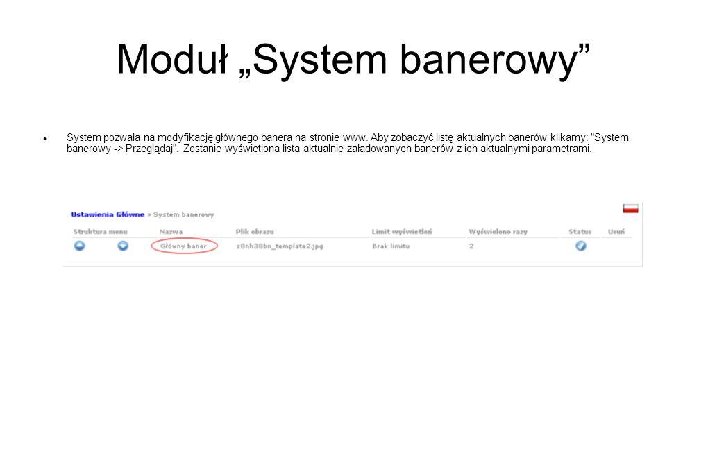 "Moduł ""System banerowy"