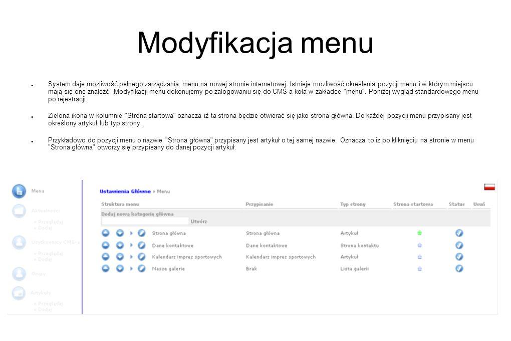 Modyfikacja menu