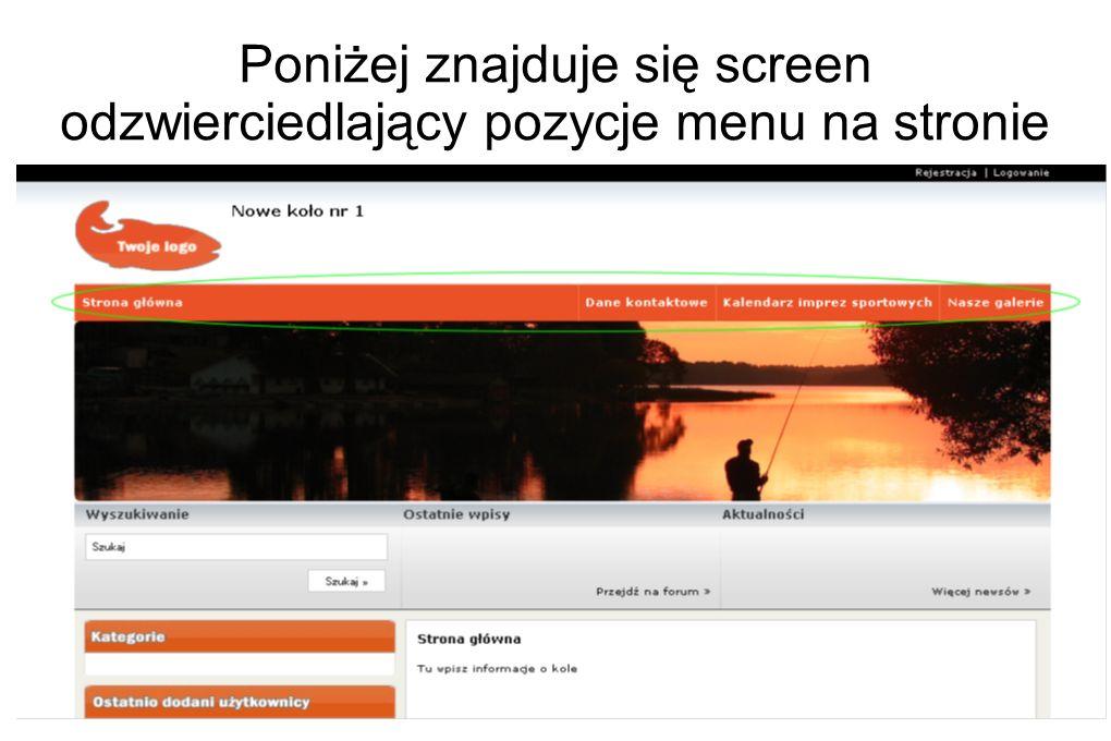 Poniżej znajduje się screen odzwierciedlający pozycje menu na stronie