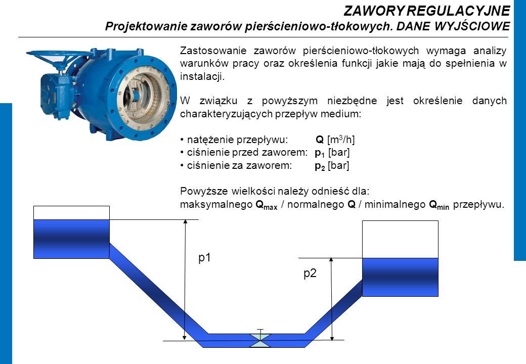 ZAWORY REGULACYJNE Projektowanie zaworów pierścieniowo-tłokowych. DANE WYJŚCIOWE.
