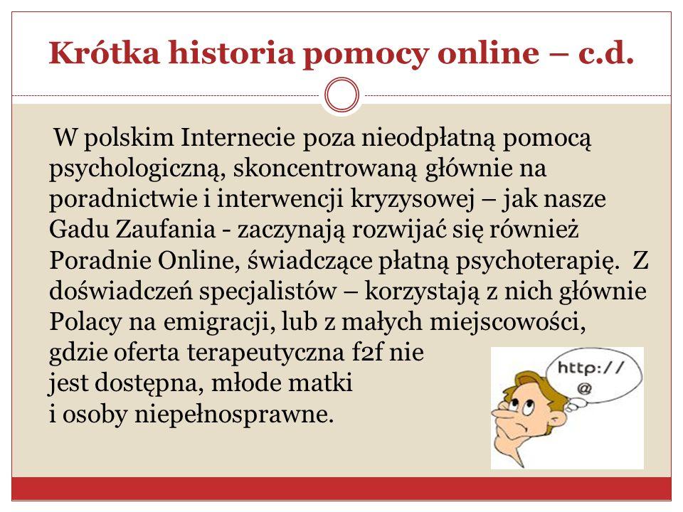 Krótka historia pomocy online – c.d.