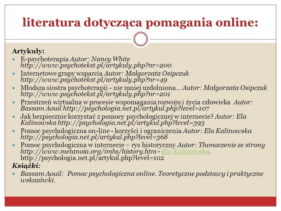 literatura dotycząca pomagania online: