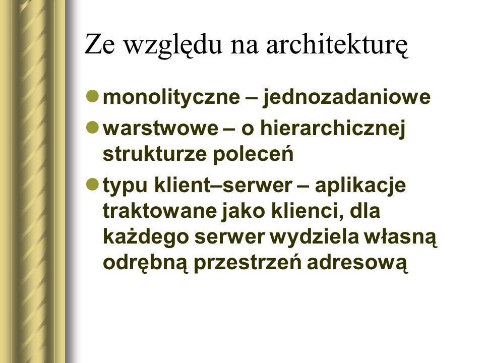Ze względu na architekturę