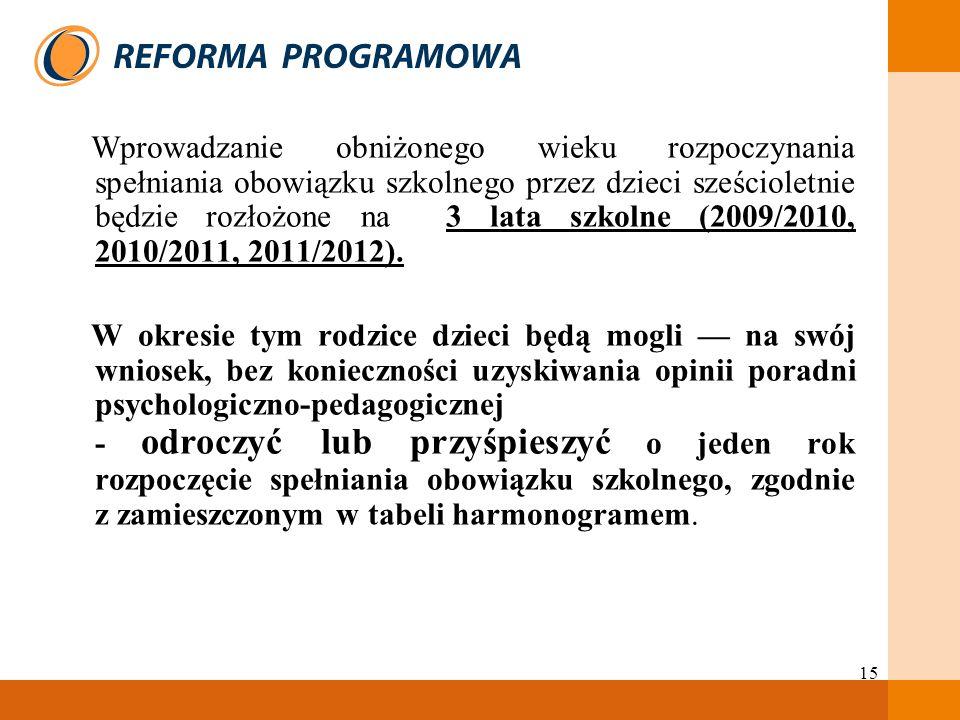 Wprowadzanie obniżonego wieku rozpoczynania spełniania obowiązku szkolnego przez dzieci sześcioletnie będzie rozłożone na 3 lata szkolne (2009/2010, 2010/2011, 2011/2012).