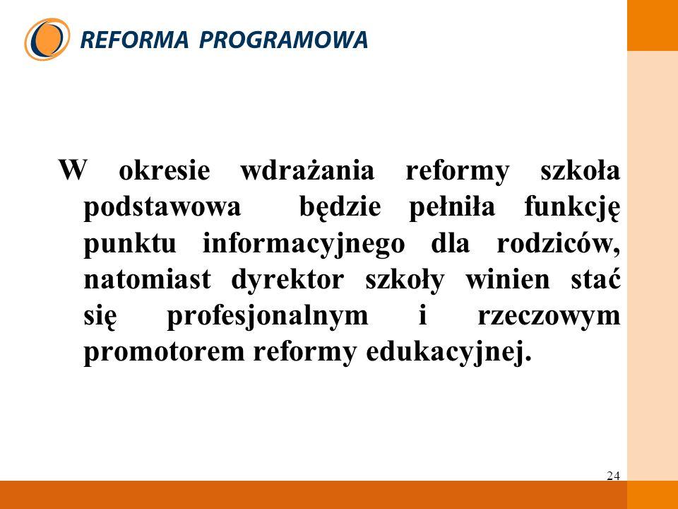 W okresie wdrażania reformy szkoła podstawowa będzie pełniła funkcję punktu informacyjnego dla rodziców, natomiast dyrektor szkoły winien stać się profesjonalnym i rzeczowym promotorem reformy edukacyjnej.