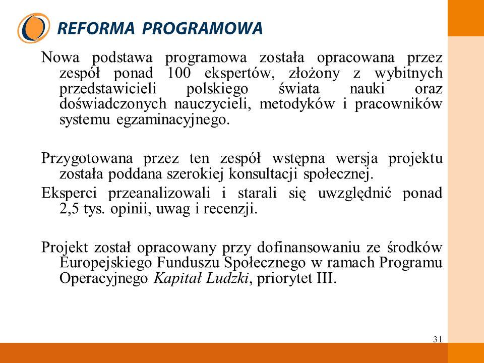 Nowa podstawa programowa została opracowana przez zespół ponad 100 ekspertów, złożony z wybitnych przedstawicieli polskiego świata nauki oraz doświadczonych nauczycieli, metodyków i pracowników systemu egzaminacyjnego.