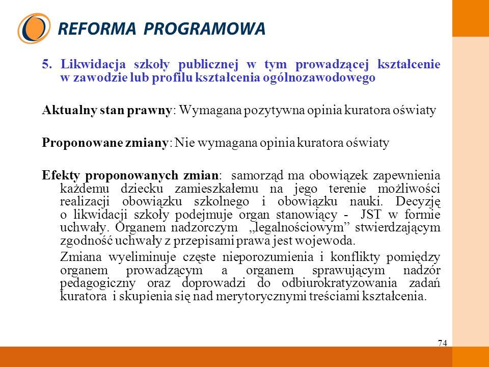 5. Likwidacja szkoły publicznej w tym prowadzącej kształcenie w zawodzie lub profilu kształcenia ogólnozawodowego