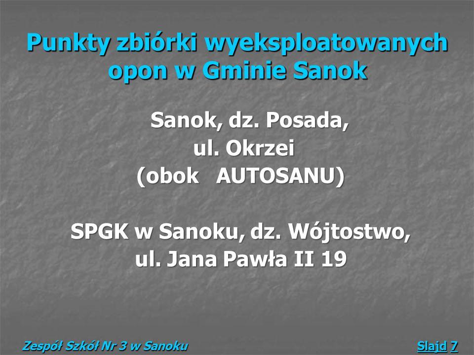 Punkty zbiórki wyeksploatowanych opon w Gminie Sanok