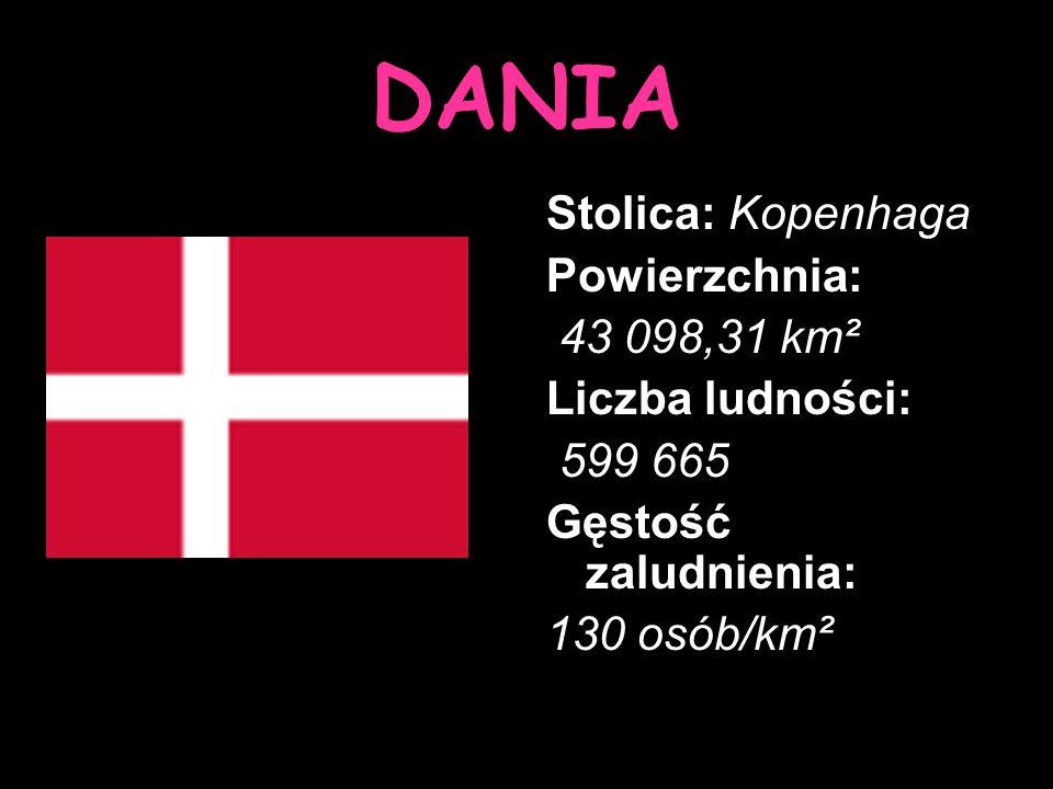 DANIA Stolica: Kopenhaga Powierzchnia: 43 098,31 km² Liczba ludności: