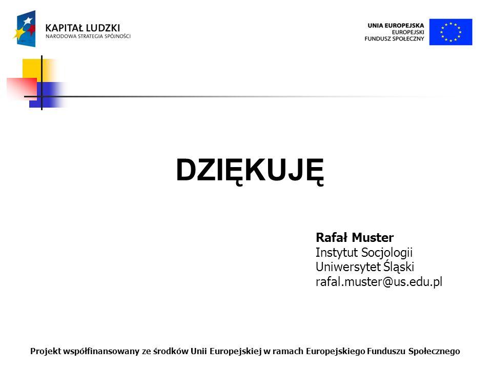 DZIĘKUJĘ Rafał Muster Instytut Socjologii Uniwersytet Śląski