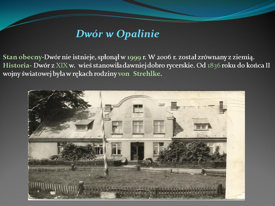 Dwór w OpalinieStan obecny-Dwór nie istnieje, spłonął w 1999 r. W 2006 r. został zrównany z ziemią.