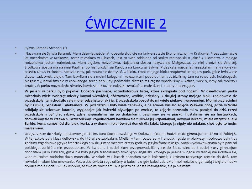 ĆWICZENIE 2 Sylwia Baranek Strona 1 z 1