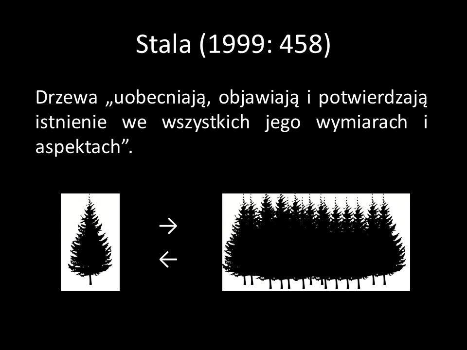 """Stala (1999: 458) Drzewa """"uobecniają, objawiają i potwierdzają istnienie we wszystkich jego wymiarach i aspektach ."""