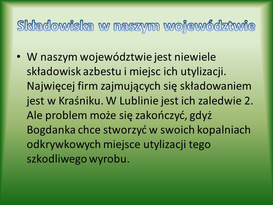 Składowiska w naszym województwie