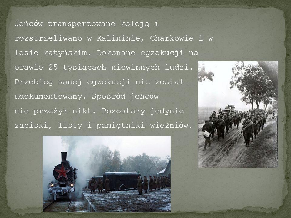 Jeńców transportowano koleją i rozstrzeliwano w Kalininie, Charkowie i w lesie katyńskim. Dokonano egzekucji na prawie 25 tysiącach niewinnych ludzi. Przebieg samej egzekucji nie został udokumentowany. Spośród jeńców