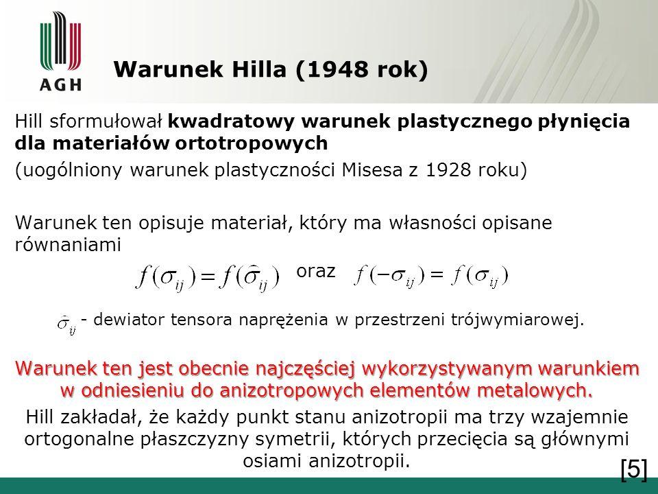 Warunek Hilla (1948 rok) Hill sformułował kwadratowy warunek plastycznego płynięcia dla materiałów ortotropowych.