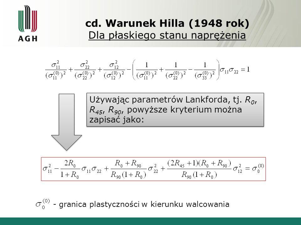 cd. Warunek Hilla (1948 rok) Dla płaskiego stanu naprężenia