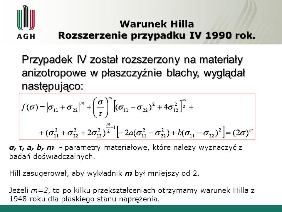 Warunek Hilla Rozszerzenie przypadku IV 1990 rok.