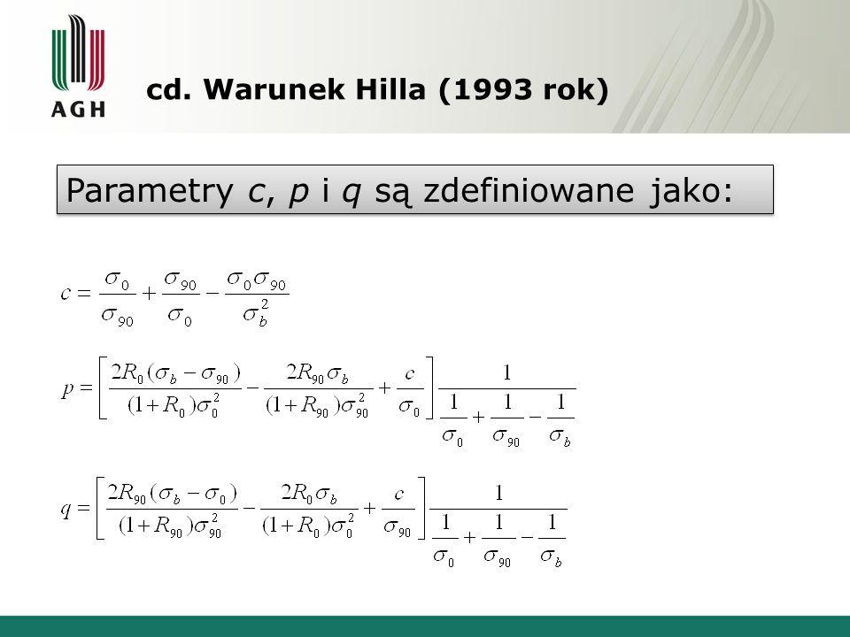Parametry c, p i q są zdefiniowane jako: