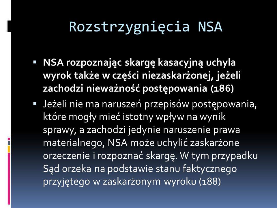 Rozstrzygnięcia NSA NSA rozpoznając skargę kasacyjną uchyla wyrok także w części niezaskarżonej, jeżeli zachodzi nieważność postępowania (186)