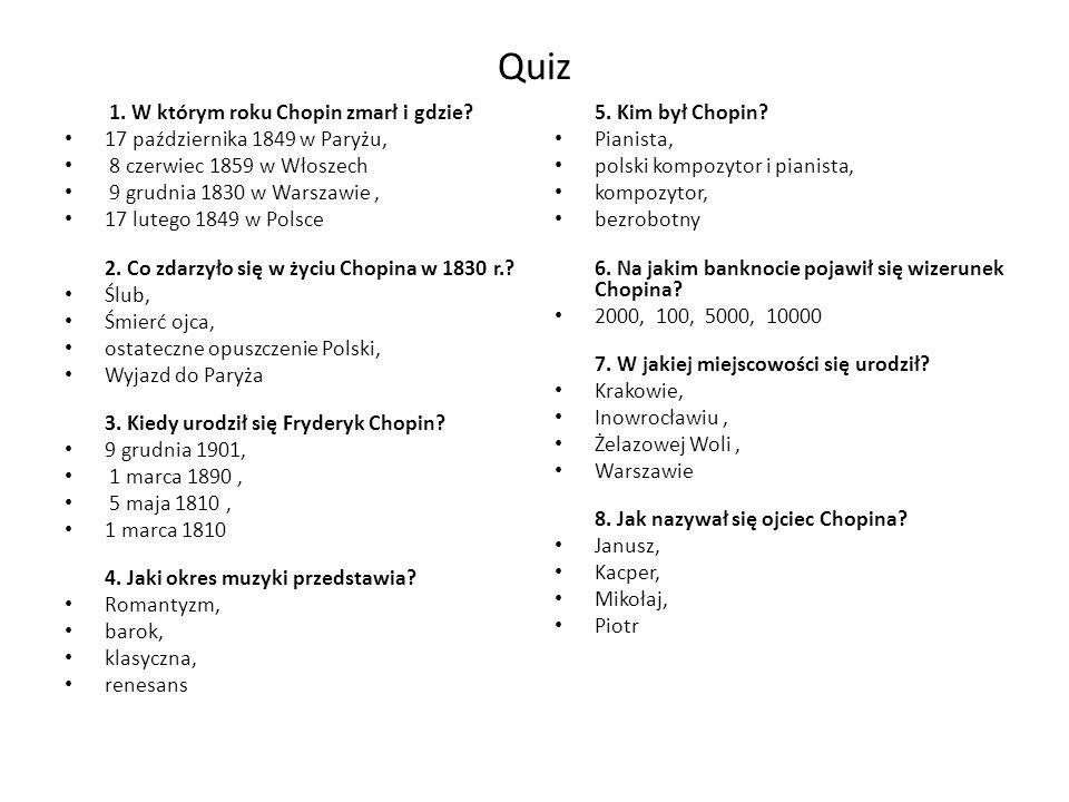 Quiz 1. W którym roku Chopin zmarł i gdzie