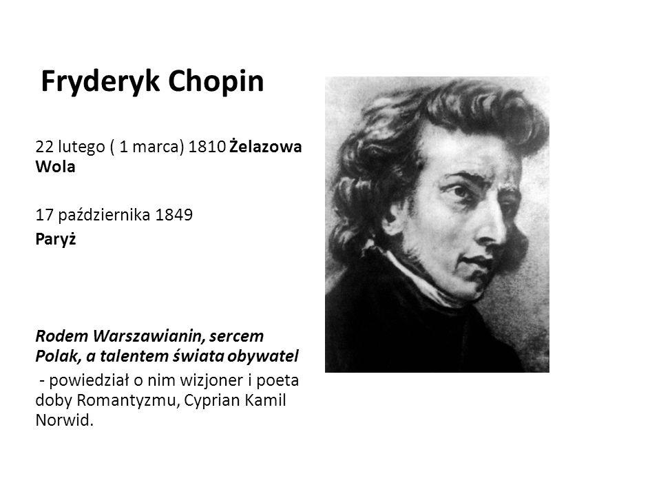 Fryderyk Chopin 22 lutego ( 1 marca) 1810 Żelazowa Wola
