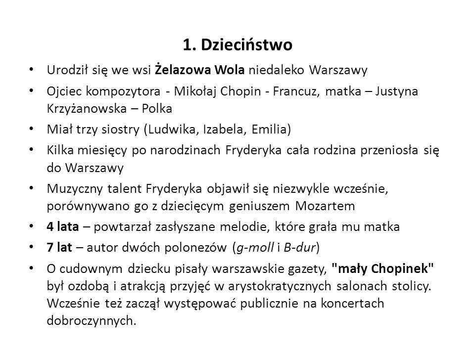 1. Dzieciństwo Urodził się we wsi Żelazowa Wola niedaleko Warszawy
