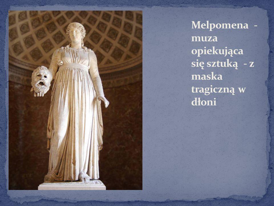 Melpomena - muza opiekująca się sztuką - z maska tragiczną w dłoni