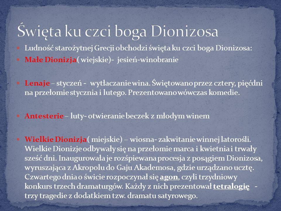 Święta ku czci boga Dionizosa
