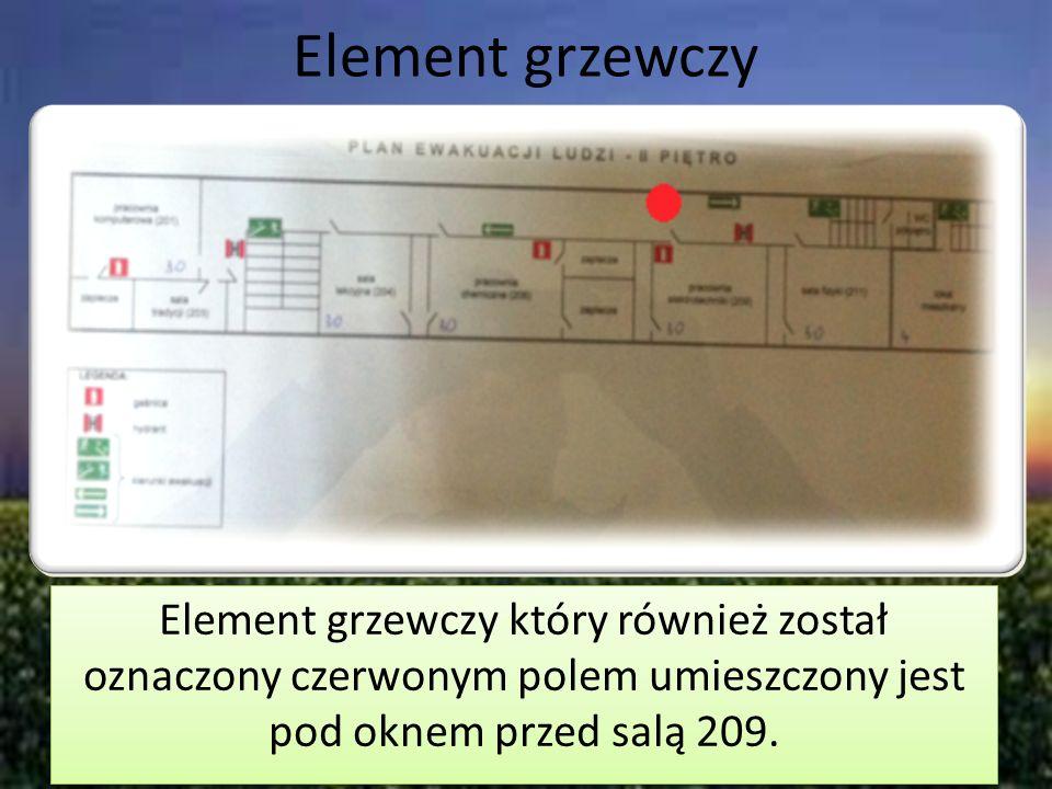 Element grzewczyElement grzewczy który również został oznaczony czerwonym polem umieszczony jest pod oknem przed salą 209.