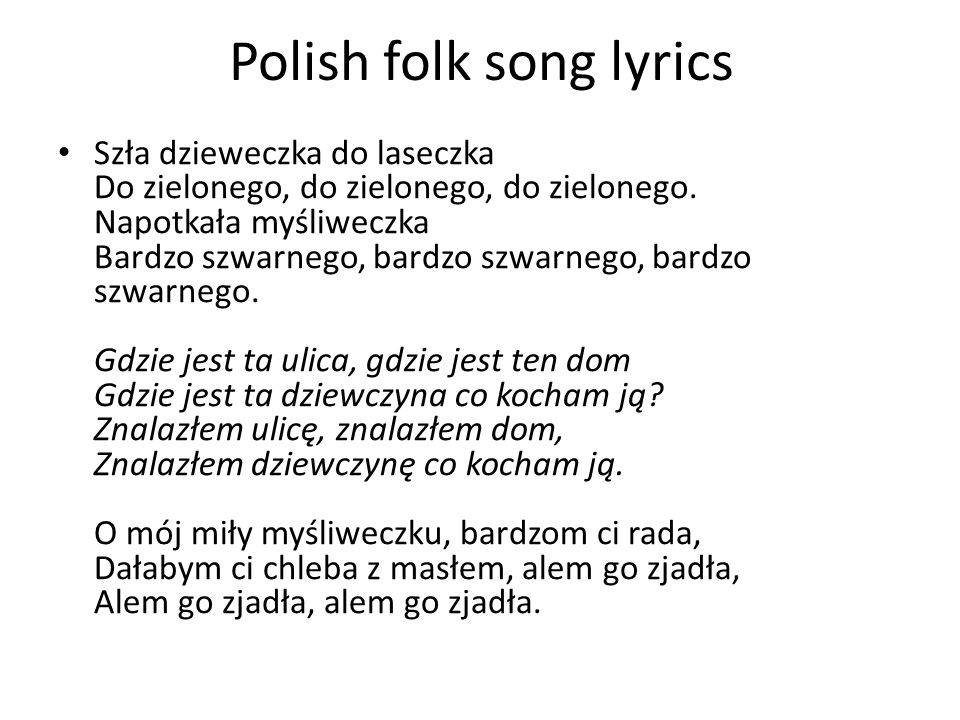 Polish folk song lyrics