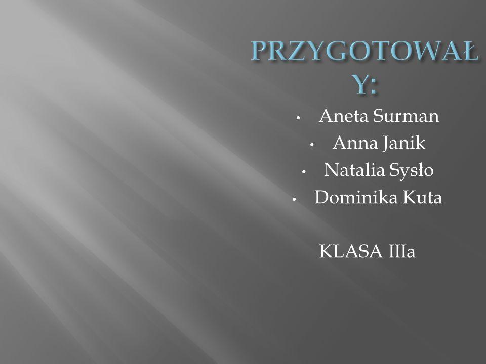 PRZYGOTOWAŁY: Aneta Surman Anna Janik Natalia Sysło Dominika Kuta