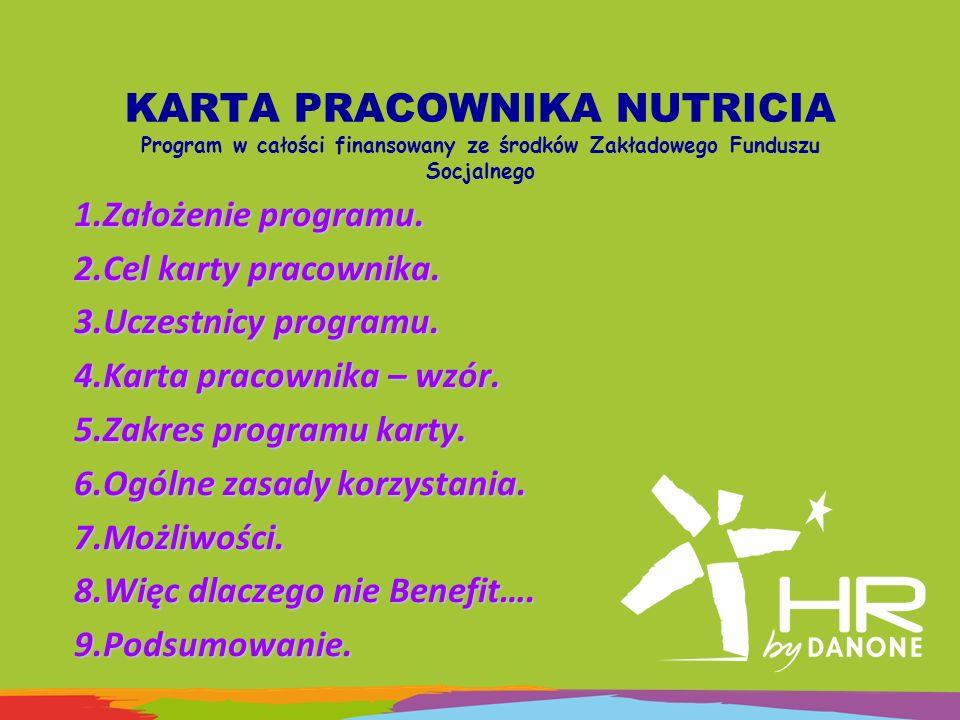 KARTA PRACOWNIKA NUTRICIA Program w całości finansowany ze środków Zakładowego Funduszu Socjalnego