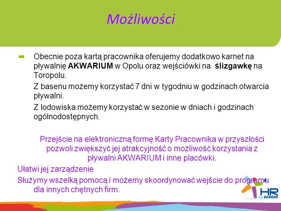 Możliwości Obecnie poza kartą pracownika oferujemy dodatkowo karnet na pływalnię AKWARIUM w Opolu oraz wejściówki na ślizgawkę na Toropolu.