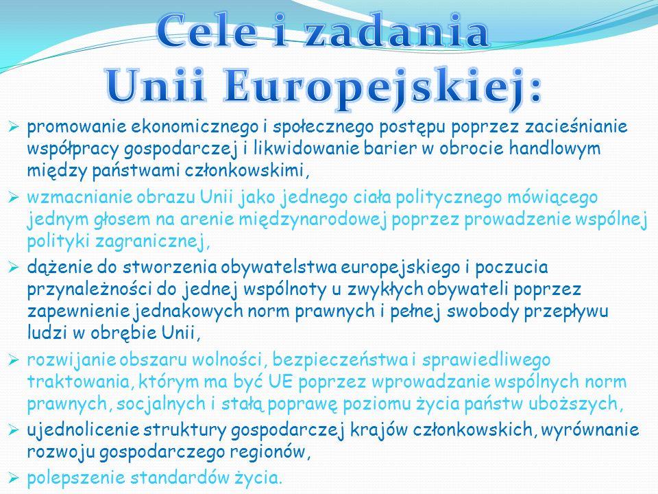 Cele i zadania Unii Europejskiej: