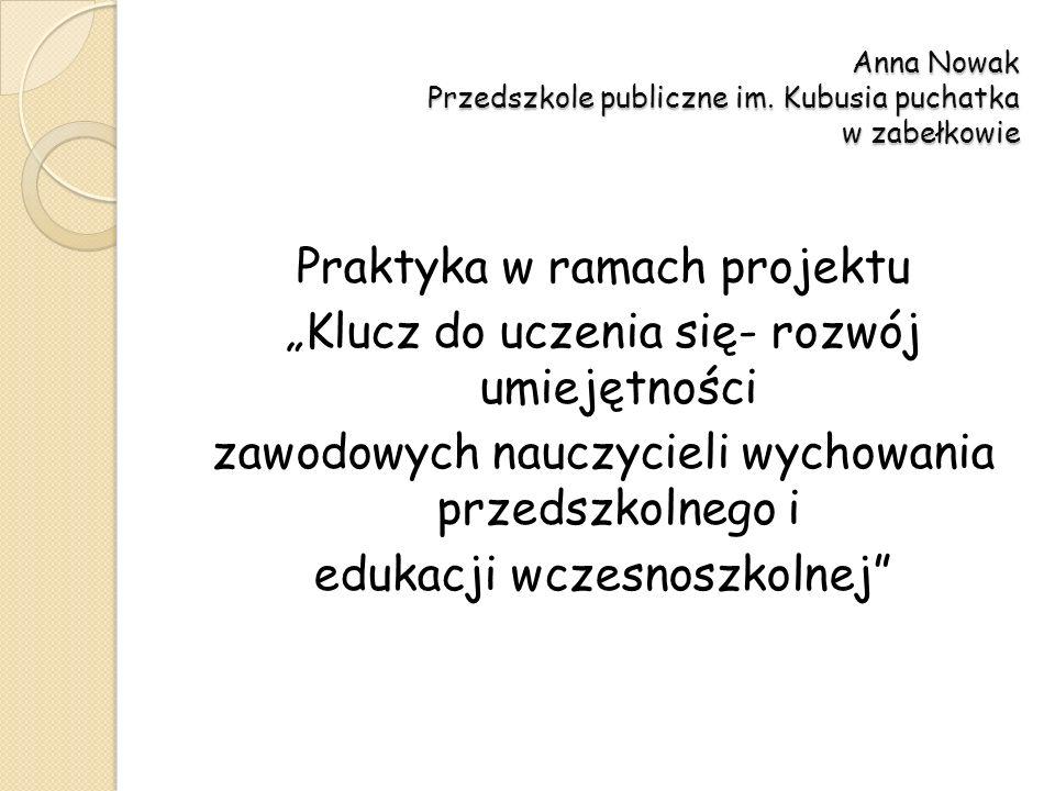 Anna Nowak Przedszkole publiczne im. Kubusia puchatka w zabełkowie