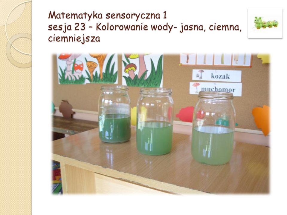 Matematyka sensoryczna 1 sesja 23 – Kolorowanie wody- jasna, ciemna, ciemniejsza