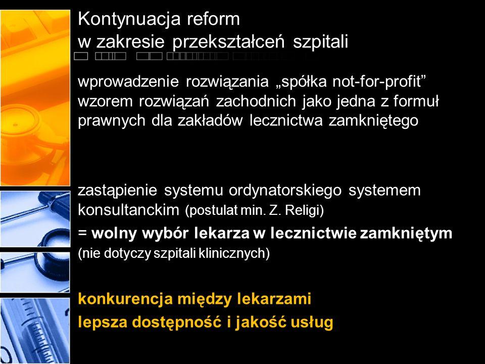 Kontynuacja reform w zakresie przekształceń szpitali