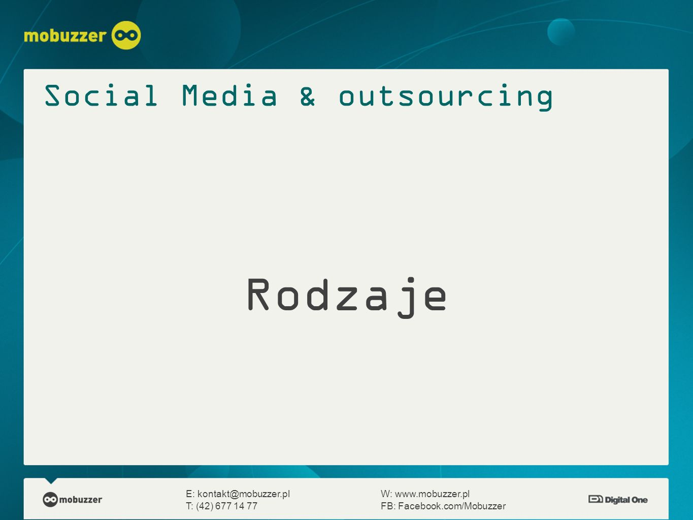 Rodzaje Social Media & outsourcing