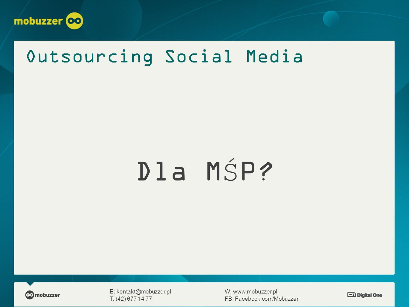 Dla MŚP Outsourcing Social Media