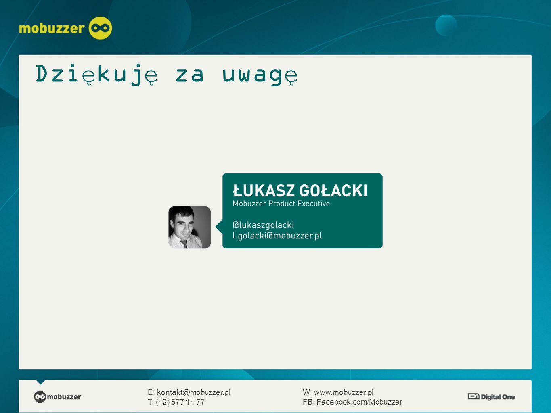 Dziękuję za uwagę E: kontakt@mobuzzer.pl W: www.mobuzzer.pl T: (42) 677 14 77 FB: Facebook.com/Mobuzzer.