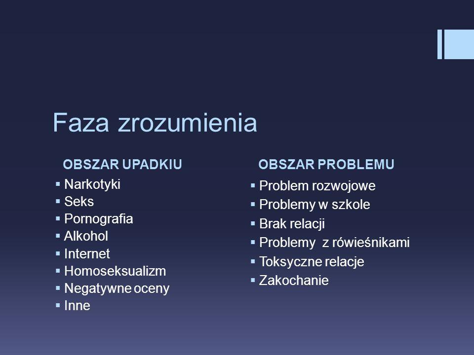 Faza zrozumienia OBSZAR UPADKIU OBSZAR PROBLEMU Narkotyki Seks