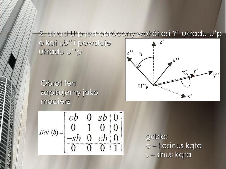 """2. układ U'p jest obrócony wokół osi Y' układu U'p o kąt """"b i powstaje układu U''p"""