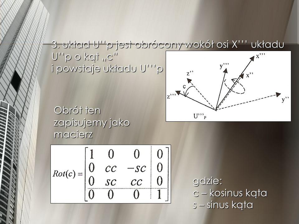"""3. układ U''p jest obrócony wokół osi X''' układu U''p o kąt """"c i powstaje układu U'''p"""