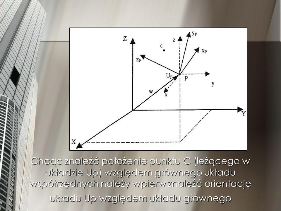 Chcąc znaleźć położenie punktu C (leżącego w układzie Up) względem głównego układu współrzędnych należy wpierw znaleźć orientację układu Up względem układu głównego