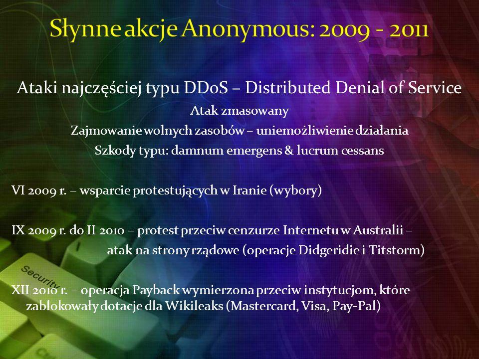 Słynne akcje Anonymous: 2009 - 2011