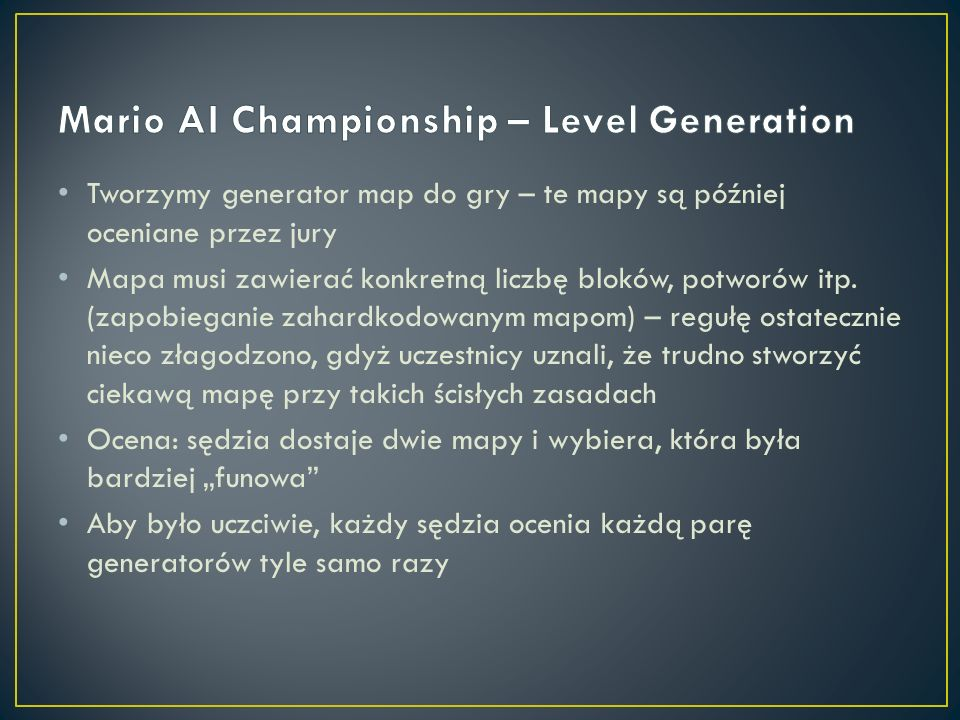 Mario AI Championship – Level Generation