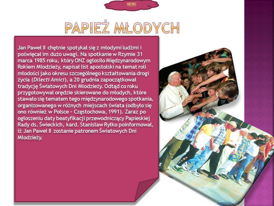 MENU Papież młodych.