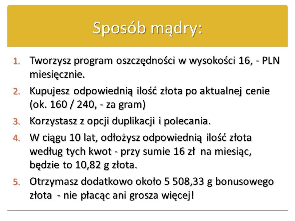 Sposób mądry: Tworzysz program oszczędności w wysokości 16, - PLN miesięcznie.