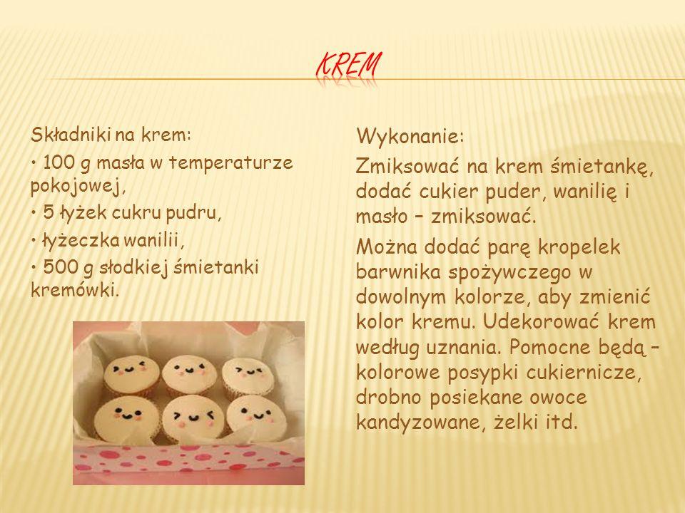 krem Składniki na krem: • 100 g masła w temperaturze pokojowej, • 5 łyżek cukru pudru, • łyżeczka wanilii, • 500 g słodkiej śmietanki kremówki.